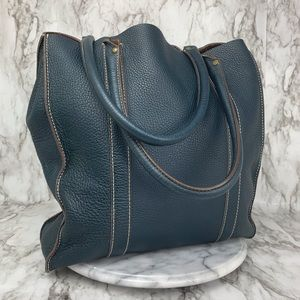 J.Crew Borge Garveri Leather teal tabloid tote bag